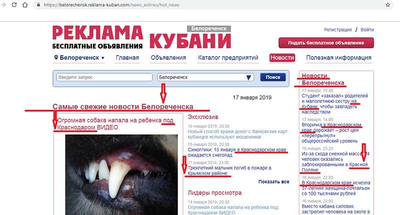 сайт реклама Кубани